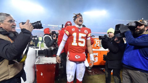 <p>               Kansas City Chiefs quarterback Patrick Mahomes (15) reacts toward fans in the stands after an NFL divisional football playoff game in Kansas City, Mo., Saturday, Jan. 12, 2019. The Chiefs defeated the Indianapolis Colts 31-13. (AP Photo/Ed Zurga)             </p>