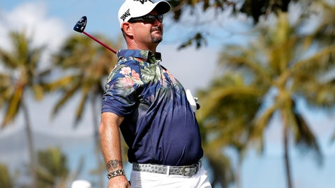 <p>               Rory Sabbatini watches his shot from 10th tee during the first round of the Sony Open PGA Tour golf event, Thursday, Jan. 10, 2019, at the Waialae Country Club in Honolulu, Hawaii. (AP Photo/Matt York)             </p>