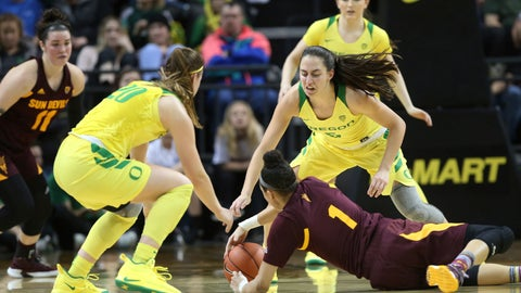 <p>               Arizona State's Robbi Ryan, left, Oregon's Sabrina Ionescu, ASU's Reili Richardson, Oregon's Maite Cazorla and Taylor Chavez, top right, converge on a loose ball during the second quarter of an NCAA college basketball game Friday, Jan 18, 2019, in Eugene, Ore. (AP Photo/Chris Pietsch)             </p>