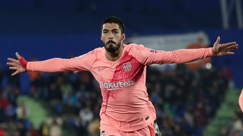 <p>               FC Barcelona's Luis Suarez celebrates after scoring during a Spanish La Liga soccer match between Getafe and FC Barcelona at the Alfonso Perez stadium in Getafe, Spain, Sunday, Jan. 6, 2019. (AP Photo/Manu Fernandez)             </p>