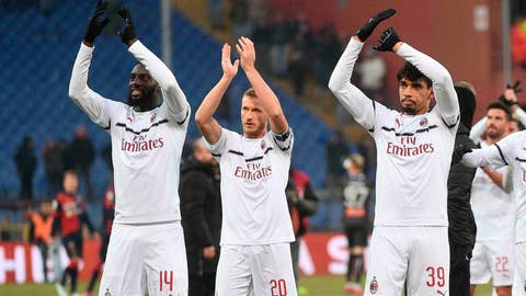 <p>               AC Milan's Tiemoue Bakayoko, Ignazio Abate and Lucas Paqueta applaud fans at the end of the Serie A soccer match Genoa CFC vs AC Milan at the Luigi Ferraris stadium in Genoa, Italy, Monday, Jan. 21, 2019. AC Milan won 2-0. (Luca Zennaro/ANSA via AP)             </p>