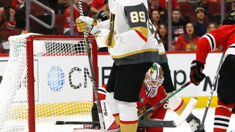 <p>               Vegas Golden Knights right wing Alex Tuch (89) reacts after his goal against the Chicago Blackhawks during the second period of an NHL hockey game Saturday, Jan. 12, 2019, in Chicago. (AP Photo Nuccio DiNuzzo)             </p>
