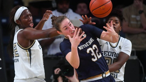 <p>               Notre Dame forward Jessica Shepard (32) vies for the ball with Georgia Tech forward Elizabeth Dixon, left, and guard Chanin Scott during an NCAA college basketball game, Sunday, Jan. 6, 2019, in Atlanta. (AP Photo/John Amis)             </p>