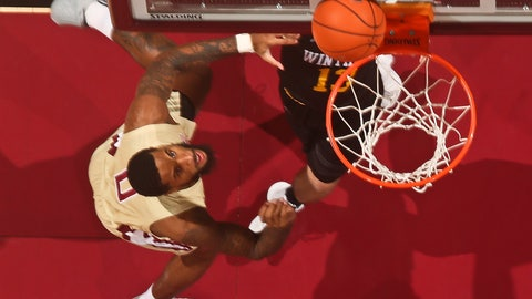 <p>               Florida State forward Phil Cofer (0) makes the first basket against Winthrop in the first half of an NCAA college basketball game in Tallahassee, Fla., Tuesday, Jan. 1, 2019. Florida State won 87-76. (AP Photo/Phil Sears)             </p>
