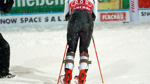 <p>               United States' Mikaela Shiffrin leans on her skis in the finish area after completing an alpine ski, women's World Cup slalom in Flachau, Austria, Tuesday, Jan. 8, 2019. Shiffrin finished in second place. (AP Photo/Giovanni Auletta)             </p>