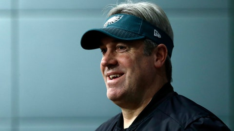 <p>               Philadelphia Eagles head coach Doug Pederson speaks with members of the media during a news conference at the team's NFL football training facility in Philadelphia, Wednesday, Jan. 2, 2019. (AP Photo/Matt Rourke)             </p>