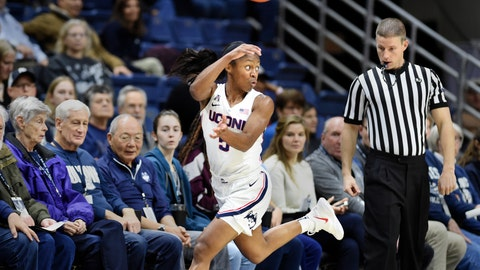 <p>               Connecticut's Crystal Dangerfield (5) looks for an outlet after stealing the ball during the first half of the team's NCAA college basketball game against Cincinnati on Wednesday, Jan. 9, 2019, in Storrs, Conn. (AP Photo/Stephen Dunn)             </p>