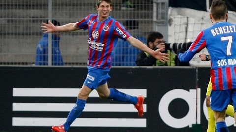 <p>               FILE - In this Friday, Feb. 27, 2015 file photo, Caen's forward Emiliano Sala celebrates scoring against Marseille during the League One soccer match between Marseille and Caen, at the Velodrome Stadium, in Marseille, southern France. The French civil aviation authority said Tuesday Jan. 22, 2019, Argentine soccer player Emiliano Sala was aboard a small passenger plane that went missing off the coast of the island of Guernsey. French and British maritime authorities are searching the English Channel for the plane. (AP Photo/Claude Paris, File)             </p>