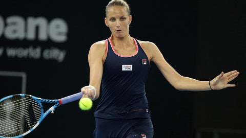 <p>               Karolina Pliskova of the Czech Republic plays a shot during her finals match against Lesia Tsurenko of Ukraine at the Brisbane International tennis tournament in Brisbane, Australia, Sunday, Jan. 6, 2019. (AP Photo/Tertius Pickard)             </p>