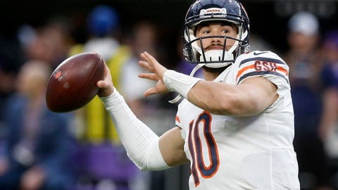 <p>               Chicago Bears quarterback Mitchell Trubisky warms up before an NFL football game against the Minnesota Vikings, Sunday, Dec. 30, 2018, in Minneapolis. (AP Photo/Jim Mone)             </p>
