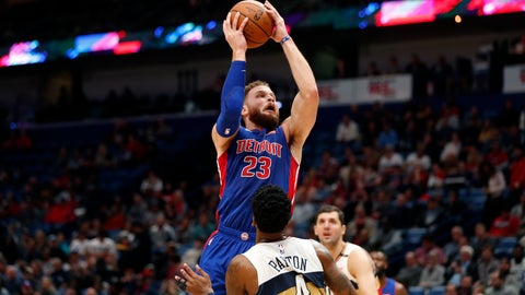 <p>               Detroit Pistons forward Blake Griffin (23) goes to the basket against New Orleans Pelicans guard Elfrid Payton (4) in the first half of an NBA basketball game in New Orleans, Wednesday, Jan. 23, 2019. (AP Photo/Gerald Herbert)             </p>