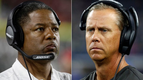 <p>               FILE - At left, in an Aug. 30, 2018, file photo, then-Arizona Cardinals head coach Steve Wilks looks on during the first half of a preseason NFL football game against the Denver Broncos, in Glendale, Ariz. At right, in a Dec. 18, 2016, file photo, then-Tampa Bay Buccaneers offensive coordinator Todd Monken walks along the sideline during an NFL football game against the Dallas Cowboys, in Arlington, Texas. New Browns coach Freddie Kitchens has hired Todd Monken as his offensive coordinator and Steve Wilks to run his defense. (AP Photo/File)             </p>