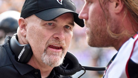 <p>               FILE - In this Sunday, Oct. 7, 2018 file photo,Atlanta Falcons head coach Dan Quinn, left, talks with defensive end Brooks Reed during an NFL football game against the Pittsburgh Steelers in Pittsburgh. Coach Dan Quinn says he feels no more pressure than he did when taking charge of the Atlanta Falcons four years ago. This time, though, he has one season to get it right. He fired all three coordinators after a 7-9 season and will take charge of the defense as the team undergoes a significant overhaul. Quinn knows the Falcons have to get back in the playoffs in 2019.(AP Photo/Don Wright)             </p>