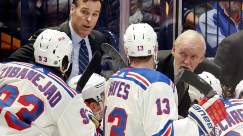 <p>               New York Rangers coach David Quinn, left, and assistant coach Lindy Ruff, right, instruct players during a timeout in the third period of an NHL hockey game against the Nashville Predators on Saturday, Dec. 29, 2018, in Nashville, Tenn. The Rangers won 4-3. (AP Photo/Mark Humphrey)             </p>