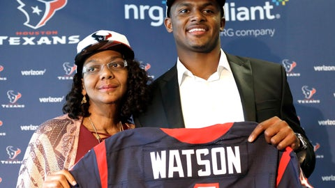 <p>               FILE - In this April 28, 2017, file photo, Houston Texans quarterback Deshaun Watson, right, poses with his mother Deann after an NFL football news conference in Houston. Watson's mother spent years encouraging him to chase his dreams. He has achieved one of his biggest goals of reaching the NFL. Now the Texans quarterback is giving back by renovating the home he grew up in and surprising his mom. (AP Photo/David J. Phillip, File)             </p>