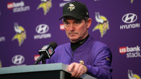 <p>               FILE - In this Dec. 30, 2018, file photo, Minnesota Vikings head coach Mike Zimmer speaks during a news conference after an NFL football game against the Chicago Bears, in Minneapolis. Zimmer's fifth season as head coach of the Vikings ended with plenty of questions about the team's direction and without the playoffs. (AP Photo/Jim Mone, File)             </p>