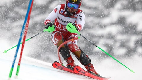 <p>               Austria's Marcel Hirscher competes during a ski World Cup men's slalom in Adelboden, Switzerland, Sunday, Jan. 13, 2019. (AP Photo/Gabriele Facciotti)             </p>