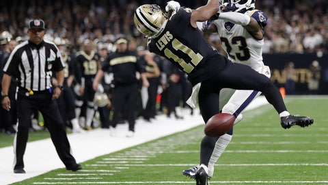 """<p>               FILE-In this Sunday, Jan. 20, 2019 file photo, New Orleans Saints wide receiver Tommylee Lewis (11) works for a catch against Los Angeles Rams defensive back Nickell Robey-Coleman (23) during the second half the NFL football NFC championship game, in New Orleans. The Rams won 26-23. New Orleans Saints fans have found some pretty creative ways to express their displeasure over the infamous """"no call"""" during last weekend's Saints-Rams championship game. But their newest tactic may make the loudest statement - a Super Bowl boycott. (AP Photo/Gerald Herbert, File)             </p>"""