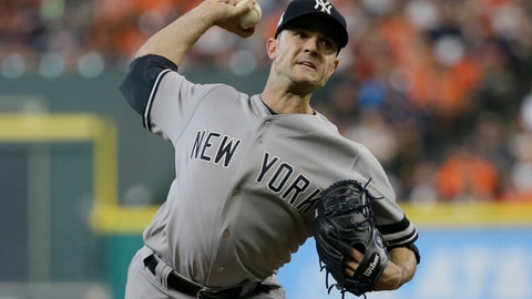 <p>               FILE - In this Saturday, Oct. 14, 2017 file photo, New York Yankees relief pitcher David Robertson throws during the seventh inning of Game 2 of baseball's American League Championship Series against the Houston Astros in Houston. Reliever David Robertson and the Philadelphia Phillies have agreed to a $23 million, two-year contact. The 33-year-old right-hander went 8-3 with a 3.23 ERA and five saves in 69 games last season for the New York Yankees.  (AP Photo/Tony Gutierrez, File)             </p>