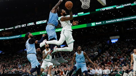 <p>               Boston Celtics' Kyrie Irving goes to the basket past Memphis Grizzlies' JaMychal Green during the second quarter of an NBA basketball game Friday, Jan. 18, 2019, in Boston. (AP Photo/Winslow Townson)             </p>