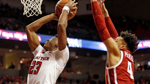 <p>               Texas Tech's Jarrett Culver (23) shoots in front of Oklahoma's Jamuni McNeace (4) during the first half of an NCAA college basketball game Tuesday, Jan. 8, 2019, in Lubbock, Texas. (AP Photo/Brad Tollefson)             </p>