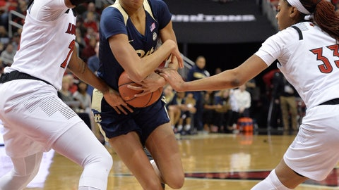 <p>               Pittsburgh forward Danielle Garven, center, attempts to fight her way through the defense of Louisville guard Jazmine Jones, left, and forward Bionca Dunham (33) during the first half of an NCAA college basketball game in Louisville, Ky., Sunday, Jan. 27, 2019. (AP Photo/Timothy D. Easley)             </p>