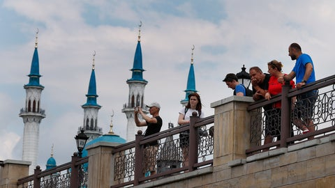 <p>               FILE In this file photo taken on Thursday, July 5, 2018, Tourists enjoy the view during the 2018 soccer World Cup in Kazan, Russia . Russia has launched a bid to host the 2023 edition of the European Games in Kazan it was reported on Wednesday, Jan. 30, 2019. (AP Photo/Frank Augstein, File)             </p>