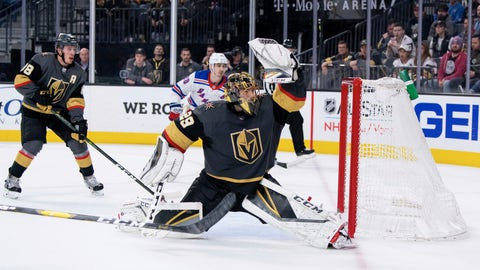 <p>               Vegas Golden Knights goalie Marc-Andre Fleury makes a save against the New York Rangers during the third period of an NHL hockey game Tuesday, Jan. 8, 2019, in Las Vegas. The Knights defeated the Rangers 4-2. (AP Photo/Eric Jamison)             </p>
