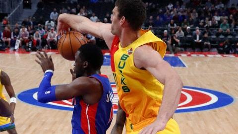 <p>               Milwaukee Bucks center Brook Lopez (11) blocks a shot by Detroit Pistons guard Reggie Jackson during the first half of an NBA basketball game in Detroit, Tuesday, Jan. 29, 2019. (AP Photo/Paul Sancya)             </p>