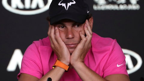 <p>               Spain's Rafael Nadal reacts during a press conference ahead of the Australian Open tennis championships in Melbourne, Australia, Saturday, Jan. 12, 2019. (AP Photo/Mark Schiefelbein)             </p>