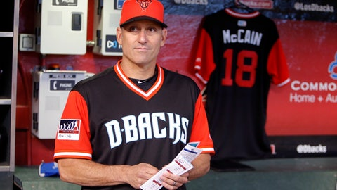 <p>               FILE - In this Sunday, Aug. 26, 2018 file photo, Arizona Diamondbacks manager Torey Lovullo stands in front of a Sen. John McCain jersey in the dugout before a baseball game against the Seattle Mariners in Phoenix. The Arizona Diamondbacks have given manager Torey Lovullo a two-year contract extension through the 2021 season. (AP Photo/Rick Scuteri, File)             </p>