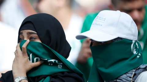 "<p>               FILE - In this Thursday, June 14, 2018 filer, Saudi women sit in the stands ahead of the group A match between Russia and Saudi Arabia which opens the 2018 soccer World Cup at the Luzhniki stadium in Moscow, Russia. Facing increasing criticism by government members over the decision to play the Italian Super Cup in Saudi Arabia, Serie A's president is hailing the match as a ""historic"" opportunity for Saudi women to attend an international game. After tickets for the Jan. 16 match went on sale with specified sectors for ""singles"" and ""families"" to separate men and women, Interior Minister Matteo Salvini declared that it was ""a shame."" There had already been calls for the game to be moved after the killing of Washington Post columnist Jamal Khashoggi. (AP Photo/Hassan Ammar, File )             </p>"
