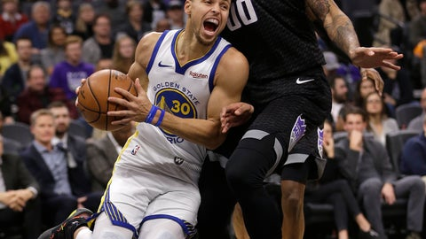 <p>               Golden State Warriors guard Stephen Curry, left, drives against Sacramento Kings center Willie Cauley-Stein during the first quarter of an NBA basketball game, Saturday, Jan. 5, 2019, in Sacramento, Calif. (AP Photo/Rich Pedroncelli)             </p>