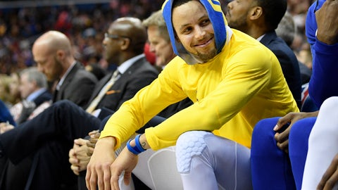 <p>               Golden State Warriors guard Stephen Curry smiles on the bench during the first half of the team's NBA basketball game against the Washington Wizards, Thursday, Jan. 24, 2019, in Washington. (AP Photo/Nick Wass)             </p>