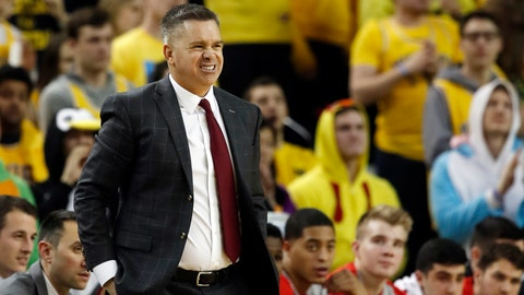 <p>               FILE - In this Tuesday, Jan. 29, 2019, file photo, Ohio State head coach Chris Holtmann reacts on the sidelines during the second half of an NCAA college basketball game against Michigan in Ann Arbor, Mich. Ohio State is limping through a rare skid in which the Buckeyes have lost five of the last six games.  (AP Photo/Carlos Osorio, File)             </p>
