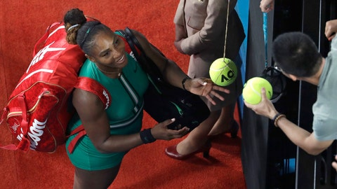 <p>               United States' Serena Williams signs autographs after defeating Romania's Simona Halep in their fourth round match at the Australian Open tennis championships in Melbourne, Australia, Monday, Jan. 21, 2019.(AP Photo/Mark Schiefelbein)             </p>