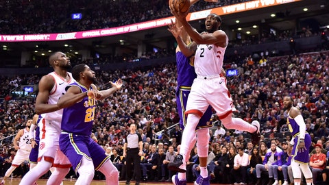 <p>               Toronto Raptors forward Kawhi Leonard (2) scores against the Utah Jazz during the second half of an NBA basketball game Tuesday, Jan. 1, 2019, in Toronto. (Frank Gunn/The Canadian Press via AP)             </p>