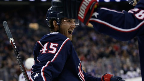 <p>               Columbus Blue Jackets' Lukas Sedlak, of the Czech Republic, celebrates his goal against the New York Rangers during the second period of an NHL hockey game Sunday, Jan. 13, 2019, in Columbus, Ohio. (AP Photo/Jay LaPrete)             </p>