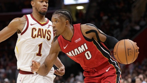 <p>               Miami Heat's Josh Richardson (0) drives past Cleveland Cavaliers' Rodney Hood (1) in the second half of an NBA basketball game, Friday, Jan. 25, 2019, in Cleveland. (AP Photo/Tony Dejak)             </p>