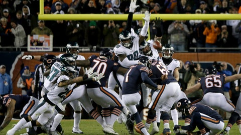 <p>               Chicago Bears kicker Cody Parkey (1) kicks and misses a field goal during the second half of an NFL wild-card playoff football game against the Philadelphia Eagles Sunday, Jan. 6, 2019, in Chicago. The Eagles won 16-15. (AP Photo/David Banks)             </p>