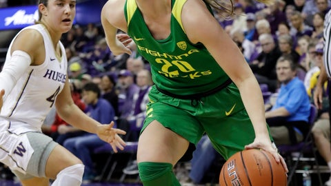 <p>               Oregon's Sabrina Ionescu, right, drives past Washington's Amber Melgoza in the first half of an NCAA college basketball game Sunday, Jan. 27, 2019, in Seattle. (AP Photo/Elaine Thompson)             </p>