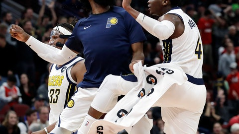 <p>               Indiana Pacers guard Victor Oladipo, right, celebrates with guard Tyreke Evans after he made a three-point basket against the Chicago Bulls during overtime of an NBA basketball game Friday, Jan. 4, 2019, in Chicago. (AP Photo/Nam Y. Huh)             </p>