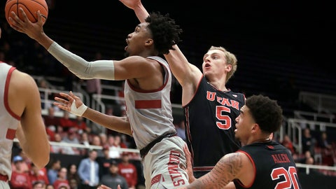 <p>               Stanford guard Bryce Wills, left, shoots next to Utah guard Parker Van Dyke (5) and forward Timmy Allen (20) during the second half of an NCAA college basketball game in Stanford, Calif., Thursday, Jan. 24, 2019. (AP Photo/Jeff Chiu)             </p>