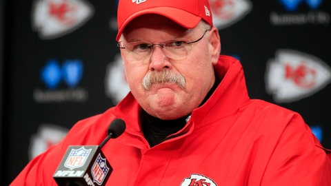<p>               FILE - In this Jan. 12, 2019, file photo, Kansas City Chiefs coach Andy Reid is shown during a news conference following an NFL divisional football playoff game against the Indianapolis Colts, in Kansas City, Mo. There is perhaps nobody under greater pressure to win this postseason than Chiefs coach Andy Reid, whose Hall of Fame-worthy resumes includes everything but a Super Bowl triumph. (AP Photo/Ed Zurga, File)             </p>