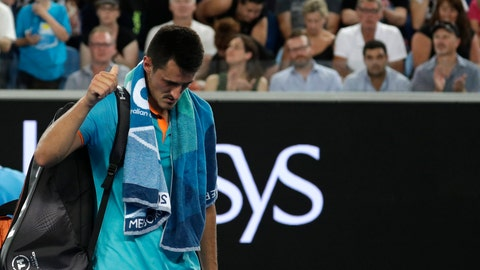 <p>               Australia's Bernard Tomic gestures as he leaves the court following his first round loss to Croatia's Marin Cilic at the Australian Open tennis championships in Melbourne, Australia, Monday, Jan. 14, 2019. (AP Photo/Kin Cheung)             </p>