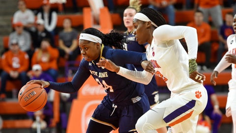 <p>               Notre Dame's Arike Ogunbowale (24) dribbles past Clemson's Aliyah Collier during the first half of an NCAA college basketball game Thursday, Jan. 31, 2019, in Clemson, S.C. (AP Photo/Richard Shiro)             </p>