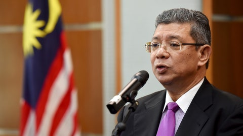 <p>               Malaysia Foreign Minister Saifuddin Abdullah speaks during a press conference in Putrajaya, Malaysia, Wednesday, Jan. 16, 2019. Malaysia's foreign minister says the government will not budge over a ban on Israeli athletes in para swimming competition and decided that the country will not host any events in future involving Israel. (AP Photo/Yam G-Jun)             </p>
