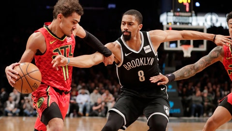 <p>               Brooklyn Nets' Spencer Dinwiddie (8) defends against Atlanta Hawks' Trae Young (11) during the first half of an NBA basketball game Wednesday, Jan. 9, 2019, in New York. (AP Photo/Frank Franklin II)             </p>