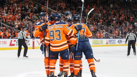<p>               Edmonton Oilers celebrate a goal against the Florida Panthers during second-period NHL hockey game action in Edmonton, Alberta, Thursday, Jan. 10, 2019. (Jason Franson/The Canadian Press via AP)             </p>