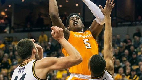 <p>               Tennessee's Admiral Schofield, top, shoots over Missouri's Reed Nikko, left, and Javon Pickett during the first half of an NCAA college basketball game Tuesday, Jan. 8, 2019, in Columbia, Mo. (AP Photo/L.G. Patterson)             </p>